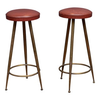 Italian Brass Bar Stools For Sale