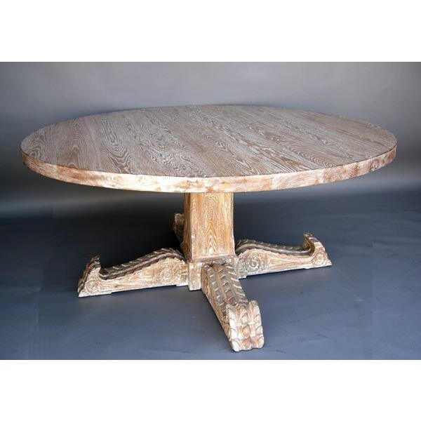 Custom Spanish Cerused Oak Pedestal Dining Table With Hand Carved Legs - Image 2 of 3