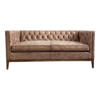 Button Tufted Leather Loveseat For Sale