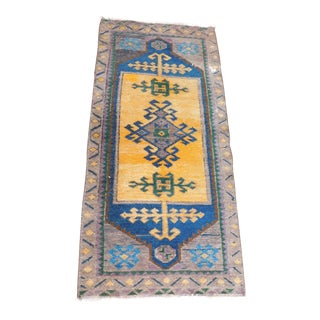 1980s Small Yellow & Blue Turkish Rug - 1′7″ × 3′7″ For Sale