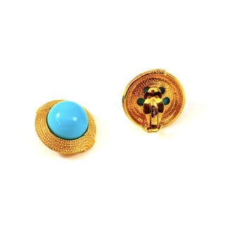 Ciner Cabochon Turquoise Earrings Preview