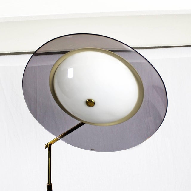 1960´s Standing Lamp by Stilux, marble, steel. brass, perspex lampshade - Italy For Sale - Image 6 of 9