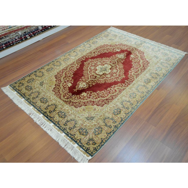 Hand Knotted Turkish Silk Rug - 4′1″ × 5′11″ - Image 5 of 9