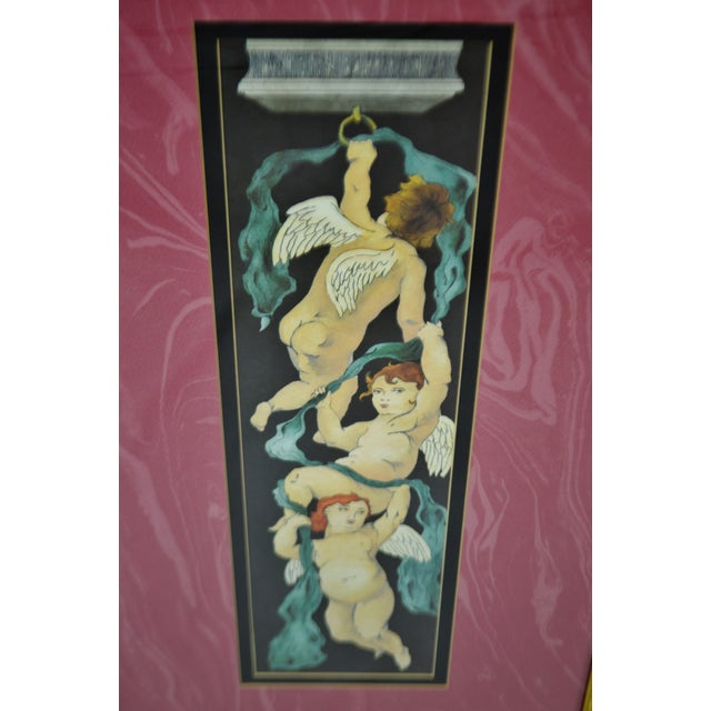 Late 20th Century Vintage Framed Paragon Picture Gallery Cherub Print For Sale - Image 5 of 12