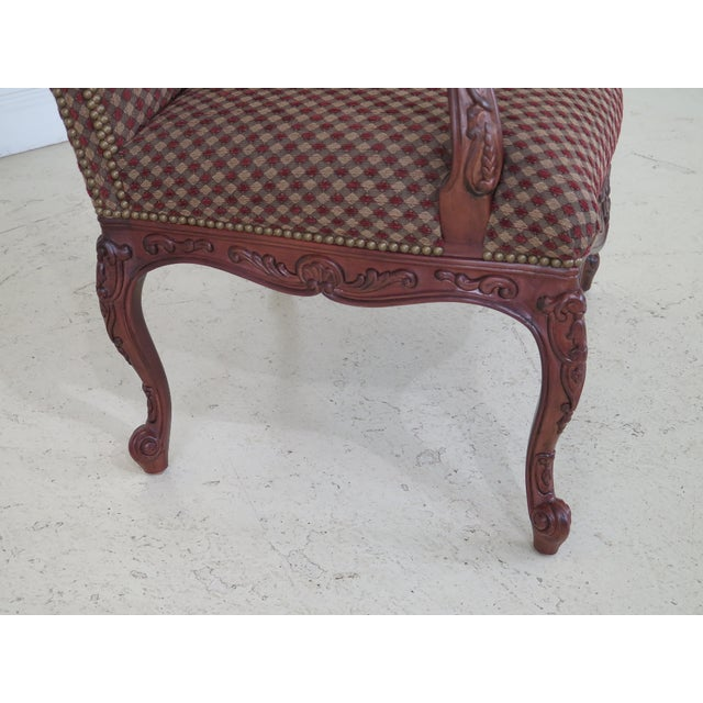 Brown Sherrill French Louis XV Style Upholstered Arm Chair For Sale - Image 8 of 13