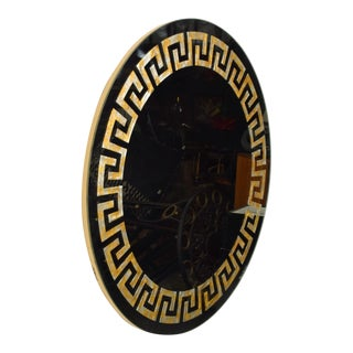 David Marshall Round Wall Mirror in Eglomized Greek Key Motiff Spain, Modern 70s For Sale