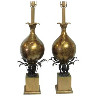 Hollywood Regency Gilt & Glass Lamps - A Pair