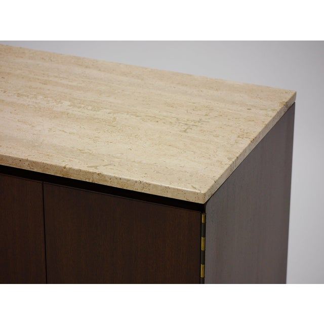 Pair of Paul Mccobb Irwin Collection Mahogany and Travertine Credenzas For Sale In Boston - Image 6 of 7