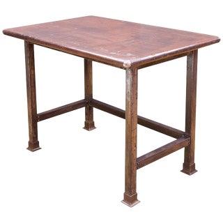 Industrial Rustic Bohemian Farm House Arborists Steel Table Drafting Work Island For Sale