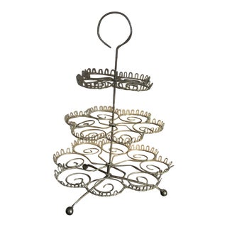 1990s Wire 3-Tiered Cupcake Stand For Sale