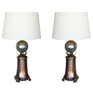 Brutalist Modern Brass & Polished Nickel Table Lamps - A Pair