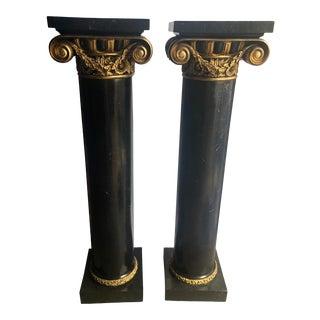 Black and Gilt Swag Maitland Smith Columns - a Pair For Sale