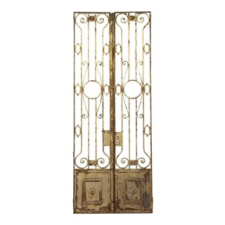 French Chateau Wrought Iron Tall Entry Doors - a Pair For Sale