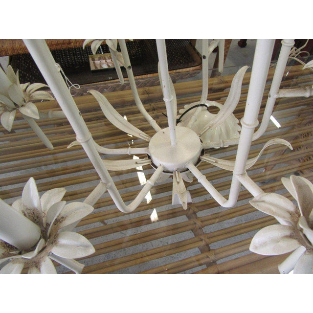 Palm Beach Faux Bamboo Chandelier For Sale In West Palm - Image 6 of 7