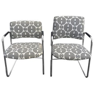 Mid-Century Optical Art Chairs - A Pair