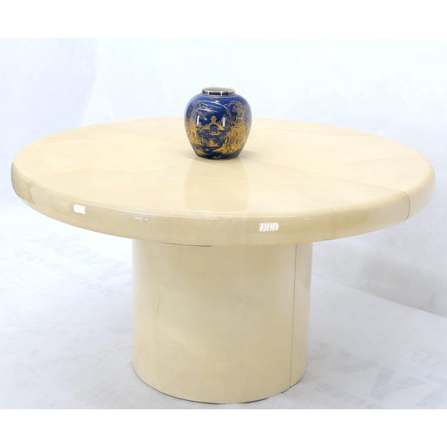 Mid 20th Century Large Round Lacquered Parchment Goat Skin Cylinder Base Dining Table 2 Leaves For Sale - Image 5 of 13
