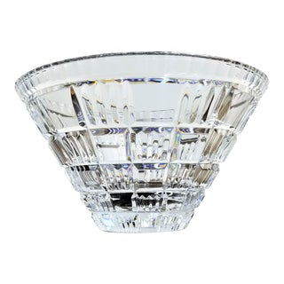 """Mikasa """"Times Square"""" Geometric Modern Crystal Center Piece Basket Weave Bowl For Sale"""