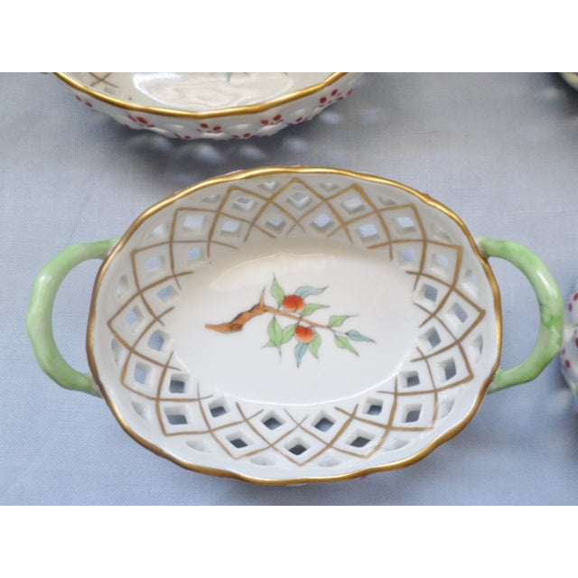 Green Vintage Herend Hungary Porcelain Lattice & Cherry Design Individual Nut or Sweetmeat Baskets - Set of 8 For Sale - Image 8 of 12