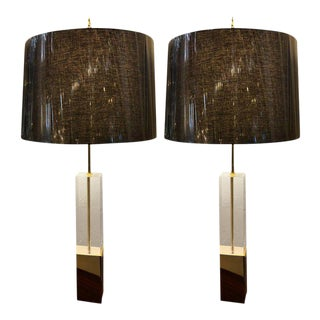 Mid-Century Modern Brass and Lucite Tall Table Lamps - a Pair