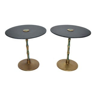 Pepe Mendoza Mid-Century Mexican Modernist Bronze Malachite Black Side Tables - a Pair For Sale