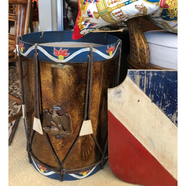 Vintage Military Eagle Tole Drum Side Table For Sale - Image 10 of 11