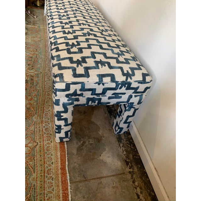 Contemporary 1970s Vintage Parsons Style Upholstered Bench For Sale - Image 3 of 6
