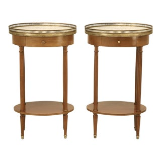 Louis XVI Style Nightstands/End Tables with Marble Tops - a pair For Sale