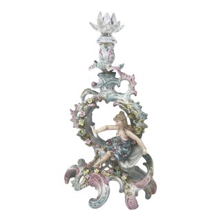 Antique Porcelain Candlestick Holder For Sale