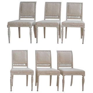 18th Century Swedish Gustavian Original Paint Chairs From Stockholm - Set of 6 For Sale
