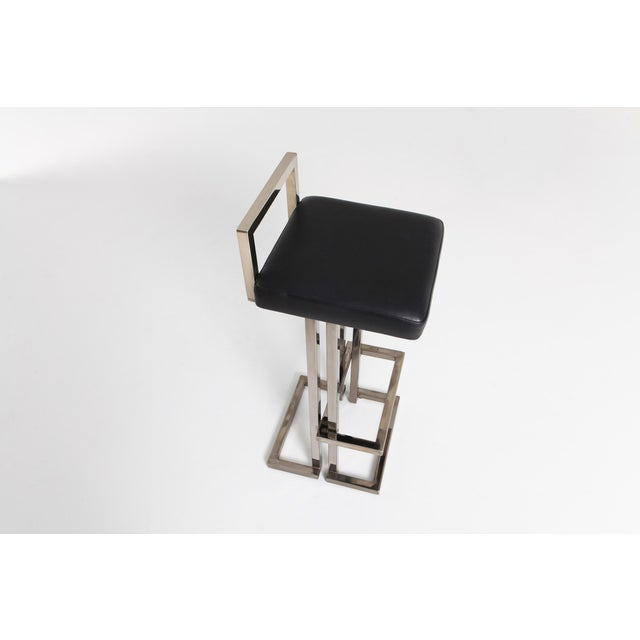 Silver Maison Jansen Chrome and Black Leather Bar Stools For Sale - Image 8 of 9