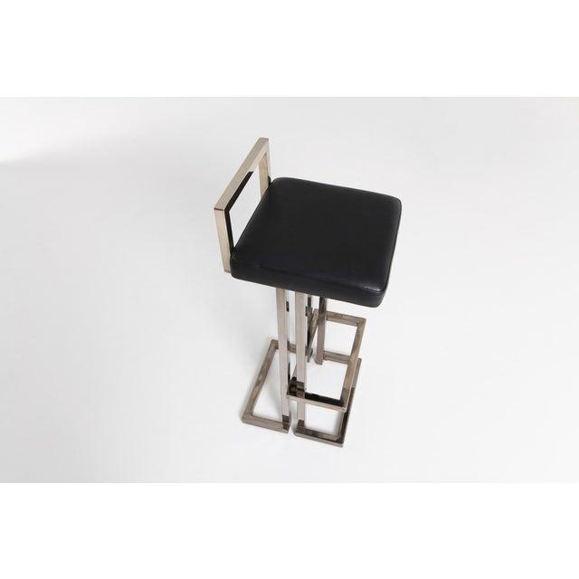 Black Maison Jansen Chrome and Black Leather Bar Stools For Sale - Image 8 of 9