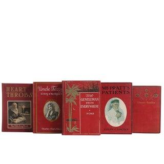Crimson Decorative Books - Set of 5 For Sale