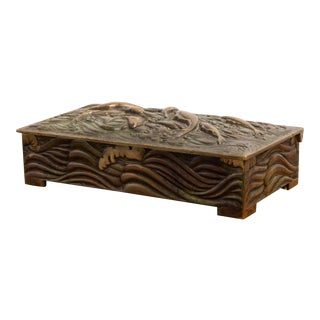 1950s Art Deco Japanese Inspired Bronze Box For Sale