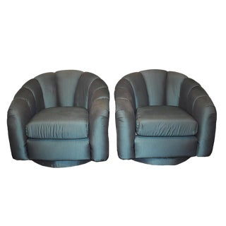 Green Milo Baughman Style Channel Swivel Armchairs - a Pair For Sale