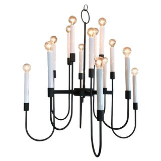 Modernist 16 Bulb Candelabra Chandelier by Lightolier in Black Enamel, 1960s For Sale