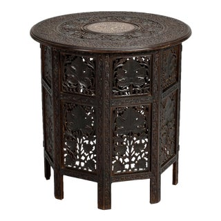 Intricately Carved Round Inlaid Moorish Side Table For Sale
