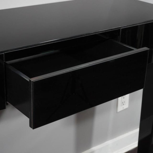 Modern Black Glass Wall Mount Console Table For Sale - Image 3 of 7