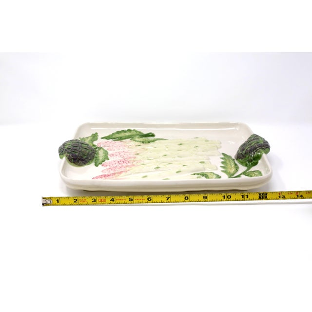 Green Vintage Ceramic Asparagus and Artichoke Tray For Sale - Image 8 of 10