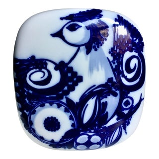 "Bjorn Wiinblad for Rosenthal Royal Blue & White Porcelain ""Bird"" Vase For Sale"