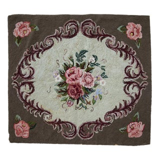 "Handmade Square American Hooked Rug - 3' x 3'4"" For Sale"
