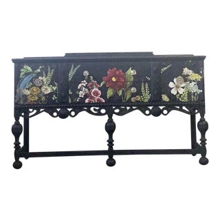 1940s Jacobean Buffet/Console Cabinet With Multi-Colored Floral Iod Transfer For Sale