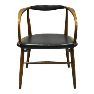 Mid Century Modern Boling Chair Co. Oak Barrel Back Danish Modern Chair For Sale