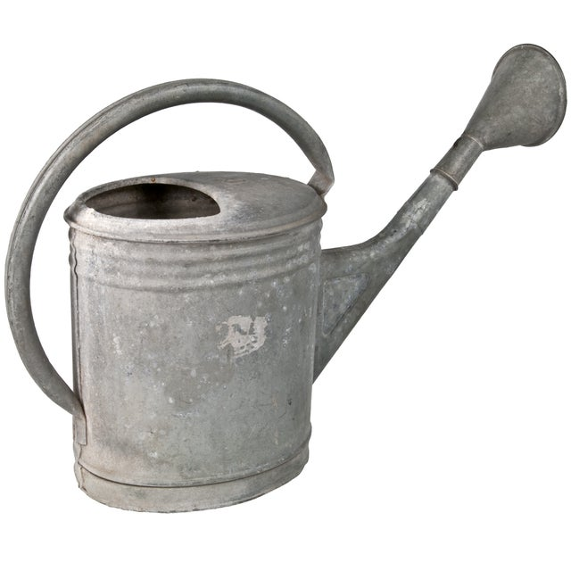Vintage galvanized European watering can with a distressed finish. Removable sprinkler head included. Imported from Germany.