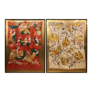 Pair of Vintage Kimono Wedding Robes in Glass Frames For Sale