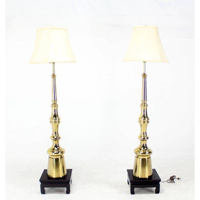 "A pair of Mid-Century Modern metal floor lamps, 5"" tall."