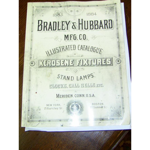 19c Pair of Bradley and Hubbard Gold Leaf 4 Arm Chandeliers - Image 10 of 13