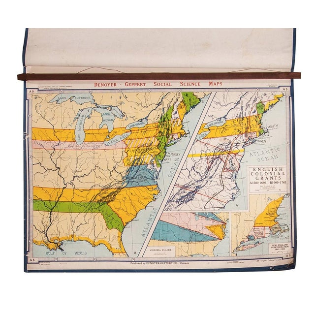 Vintage English Colonial Grants Map For Sale