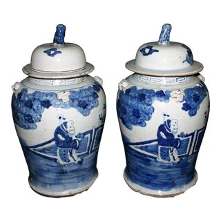 Pair of Medium Size Chinese Blue & White Jars For Sale