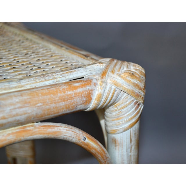 Vintage Bamboo & Cane White Washed Side Table, End Table For Sale In Miami - Image 6 of 10
