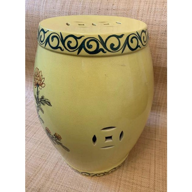 Vintage Imported Hand Painted Chinoiserie Garden Stool For Sale - Image 4 of 8